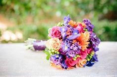 The bride's gorgeous bouquet made up of bright flowers  #purple #orange #pink #bouquet #wedding