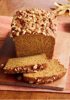 Pumpkin Bread — Vanilla pudding and chopped walnuts give this pumpkin bread recipe its super-moist and nutty appeal.