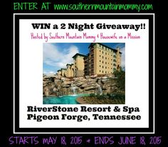 Giveaway! Southern Mountain Mommy is hosting a giveaway to RiverStone Resort & Spa!! Swimming, Golf, Massage, Getaway, Pigeon Forge, Tennessee, Gatlinburg, Travels, family,friends, fun!!!!
