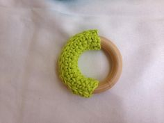 Crochet and wooden teether toy waldorf inspired infant toy by thelittlestlearners on Zibbet