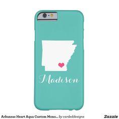 Arkansas Heart Aqua Custom Monogram Barely There iPhone 6 Case