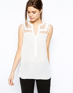 Image 1 of Warehouse Organza Panelled Sleeveless Blouse Sleeveless Blouse, Blouse Designs, Passion For Fashion, Style Me, Ideias Fashion, Cute Outfits, Couture, Clothes For Women, How To Wear