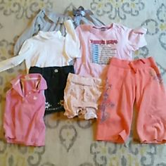 7 item, 2/3 toddler girls bundle Too long sleeve shirts, one tank top, one jean skirt, one pair of large shorts, one pair of pants Other