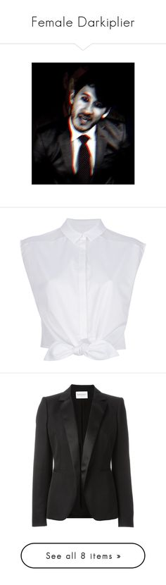"""""""Female Darkiplier"""" by kawaiidezu ❤ liked on Polyvore featuring tops, blouses, shirts, crop tops, blusas, white sleeveless top, white blouse, crop top, white sleeveless blouse and white bow blouses"""