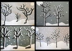 Winter Trees - A Value Study Classroom Art Projects, School Art Projects, Art Classroom, Value In Art, Winter Art Projects, 4th Grade Art, Ecole Art, Theme Noel, Art Lessons Elementary