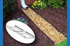 Rock Bed Downspout - because Im tired of my mulch getting washed away.