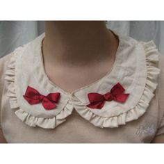 Burgundy bow and lace detachable collar from PonPon Kei (€18) ❤ liked on Polyvore featuring accessories