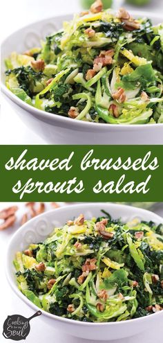 This fresh and tangy shaved brussels sprouts salad is crunchy and full of delicious ingredients. It's also made with kale , walnuts, and homemade lemon dressing Shaved Brussel Sprout Salad, Sprouts Salad, Brussels Sprouts, Healthy Side Dishes, Vegetable Side Dishes, Side Dish Recipes, Kitchen Recipes, Cooking Recipes, Healthy Recipes