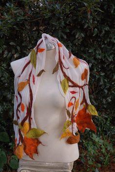 An Autumn Display Nuno Felted Silk Scarf by feltingpot on Etsy, $55.00