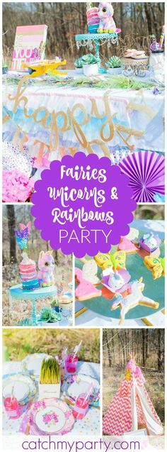You have to see this beautiful outdoor fairies, unicorns and rainbow party! See more party ideas at CatchMyParty.com!