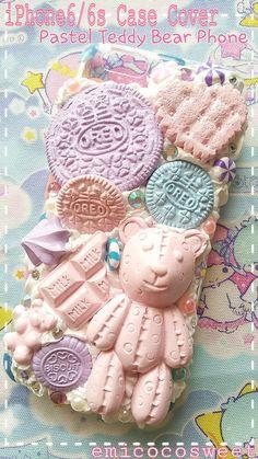 Kawaii Pastel Teddy Bear Decoden Phone Case,Decoden iPhone 6/6s Kawaii Phone…