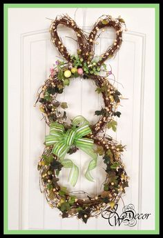 Easter Wreath - Bunny Wreath - Easter Door Wreath - Easter Decoration - Outdoor Wreath Easter. $69.00, via Etsy.