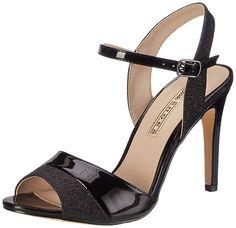 Buffalo Shoes Women's Glitter Metallic Pu Wedge Heels Sandals, Black (Black UK Ankle Shoes, Pump Shoes, Women's Shoes Sandals, Girls Sandals, Girls Shoes, Shoes Women, Bridal Sandals, Bridal Shoes, Buffalo Shoes
