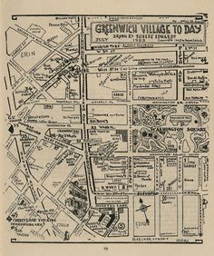 Hand-drawn map of Greenwich Village from 1925