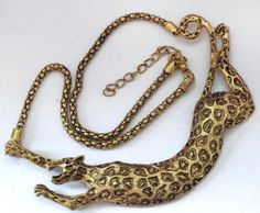 "55. Gold plated black cheetah leopard shape necklace 17"" and + extra 2"" Lot 55"