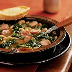 Cannellini Stew with Sausage and Kale and Cheese Toasts | MyRecipes.com