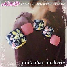Black pink floral toes