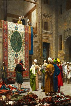 Bazaar of the carpets painting by Jean-Leon Gerome