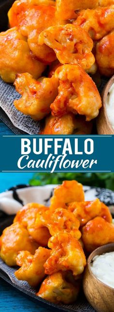 Buffalo Cauliflower Bites Recipe | Roasted Cauliflower | Buffalo Cauliflower Wings | Baked Cauliflower via @dinneratthezoo