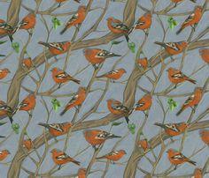 Kitchen Wallpaper idea - The Chaffinch fabric by ravynka on Spoonflower - custom fabric