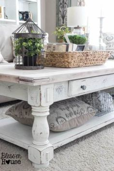 Shabby Chic Coffee Table with Rustic Accessories -- Best Farmhouse Living Room Decor ideas : homebnc Shabby Chic Coffee Table, Coffe Table, Coffee Table Decor Living Room, Farmhouse Style Coffee Table, Shabby Chic Decor Living Room, White Distressed Coffee Table, Distressed Wood, Rustic Coffee Tables, White Coffee Tables