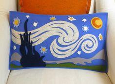"""Starry Night"" by Vincent Van Gogh Merino Wool Felt Pillow Felt Pillow, Penny Rugs, Felt Applique, Felt Crafts, Van Gogh, Wool Felt, Sewing Crafts, Crafty, Quilts"