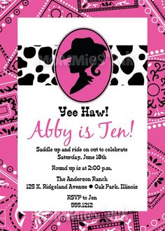Cowgirl Invitation Silhouette Invite Western Theme Birthday Party Cow Print