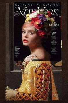 Caravaggio-esque Elle Fanning, New York Magazine February 2013 + The Portrait of Giovanna Tornabuoni by Domenico Ghirlandaio