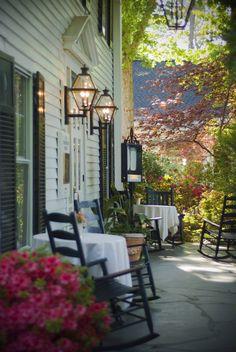 b e d a n d b r e a k f a s t Outdoor Spaces, Outdoor Living, Outdoor Decor, Outdoor Retreat, Bed And Breakfast, Breakfast Ideas, Decks And Porches, Front Porches, House Restaurant