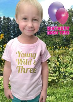 Add a pair of Youth Heavyblend or Youth Open Bottom Sweatpants to your order. Message us for details.    We offer LOTS more great gift ideas!  CLICK HERE -->  https://www.etsy.com/ca/shop/BirthdayBashTees?ref=cd    Have questions regarding colour, style or sizing? Instantly download our Color & Size Comparison Guide and save: https://www.etsy.com/ca/listing/467357275/birthdaybashtees-color-size-comparison    3 Year Old Birthday Shirt in GOLD GLITTER!!    The perfect gift for that young, wild…