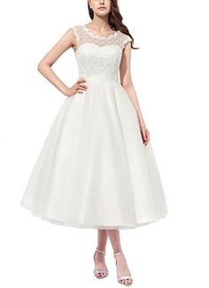 e2cdf7de52 online shopping for Firose Vintage Style Polka Dotted Tea Length Little Wedding  Dress from top store. See new offer for Firose Vintage Style Polka Dotted  ...