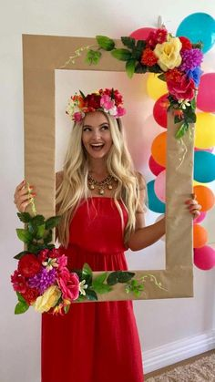 Boho tropical Bachelorette theme party. Filled with colour, flower crowns, pineapples, flamingo, diy, wine, donuts and good music. Boho. Tropical. Bachelorette. Hens party. Flower party. Balloon garland. Bride. Bridesmaids party. Red dress. Tropical dress. Blonde hair. Best day ever. New Zealand. Hawkes Bay.