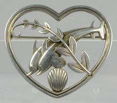 Georg Jensen heart shaped sterling brooch with dolphins