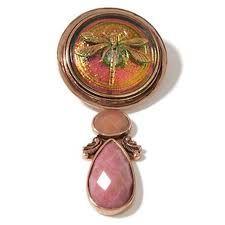 Pink Glass Button & Gem Pendant