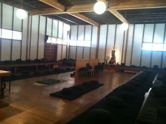 Inside of the Green Gulch Zen Center zendo, where the ceremony will take place