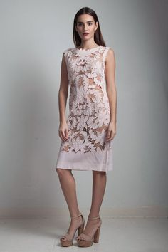 5afacbcbc62 1950s vintage lace eyelet embroidered sheath dress pink blush floral see  through sleeveless knee length SMALL S