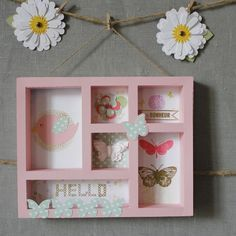 """Shadow Box, cadre 3D en papier """"Butterfly"""" rose"""