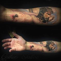 Awesome piece from gothic tattoo Jesus Forearm Tattoo, Jesus Tattoo Sleeve, Forearm Tattoos, Sleeve Tattoos, Jesus On Cross Tattoo, God Tattoos, Neue Tattoos, Body Art Tattoos, Tattoos For Guys