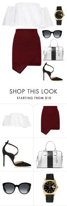 """Untitled #4284"" by kaitoven on Polyvore featuring Boohoo, Gianvito Rossi, MICHAEL Michael Kors, Gucci and Rolex"