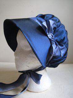 Regency Bonnet/Reticule. Navy Blue Taffeta, French Ombre Ribbons. CUSTOM MADE