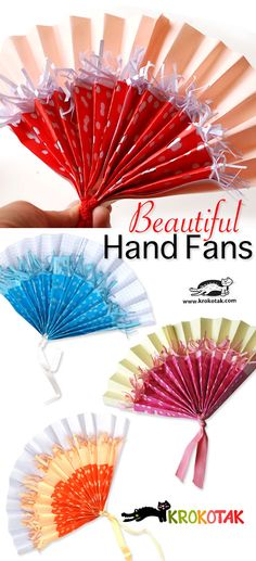 Beautiful Hand Fans Tutorial #paper #art (might be a practical convention gift?)