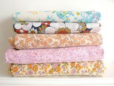 Vintage fabrics... by Three Red Apples, via Flickr