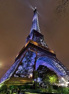 Eiffel Tower all lit up at night