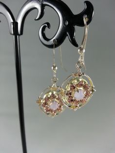Pink and opal Swarovski crystals on sterling silver earrings