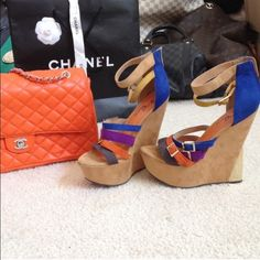Platform Wedge Heels Suede camel color at the bottom. Straps from top to bottom are camel, mustard yellow, blue, purple, orange, & dark gray. No stains. Worn once & couldn't walk in them... Lol! I thought these were HOT, but my ankles didn't think the same. LOL! Shoes Wedges