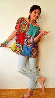 How to make a mesh crochet top crochet top crochethowto Pull Crochet, Crochet Shirt, Crochet Cardigan, Free Crochet, Knit Crochet, Crochet Fashion, Diy Fashion, Crochet Designs, Crochet Patterns