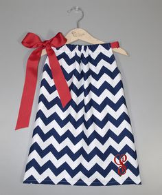 Look at this Navy Zigzag Bow Initial Dress - Infant, Toddler & Girls on #zulily today!
