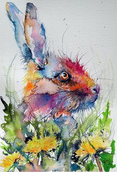 ARTFINDER: Little rabbit by Kovács Anna Brigitta - Original watercolour painting on high quality watercolour paper. I love landscapes, still life, nature and wildlife, lights and shadows, colorful sight. Watercolor Bird, Watercolor Animals, Watercolor Illustration, Watercolor Paintings, Watercolours, Bunny Painting, Tole Painting, Rabbit Art, Rabbit Drawing