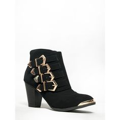 SHARPAY-03 Bootie (110 BRL) ❤ liked on Polyvore featuring shoes, boots, ankle booties, black, chunky black boots, black bootie boots, black ankle bootie, black booties and ankle boots