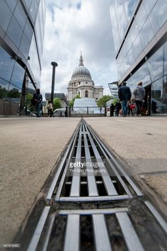 A low angle view of St Paul's Cathedral from the One New Change shopping centre, London.